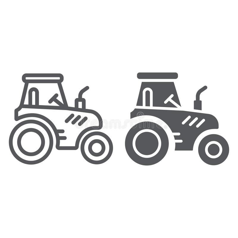 Tractor line and glyph icon, transportation and agriculture, harvest machine sign, vector graphics, a linear pattern on. A white background, eps 10 vector illustration