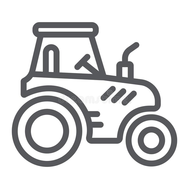 Tractor line icon, transportation and agriculture, harvest machine sign, vector graphics, a linear pattern on a white. Background, eps 10 royalty free illustration