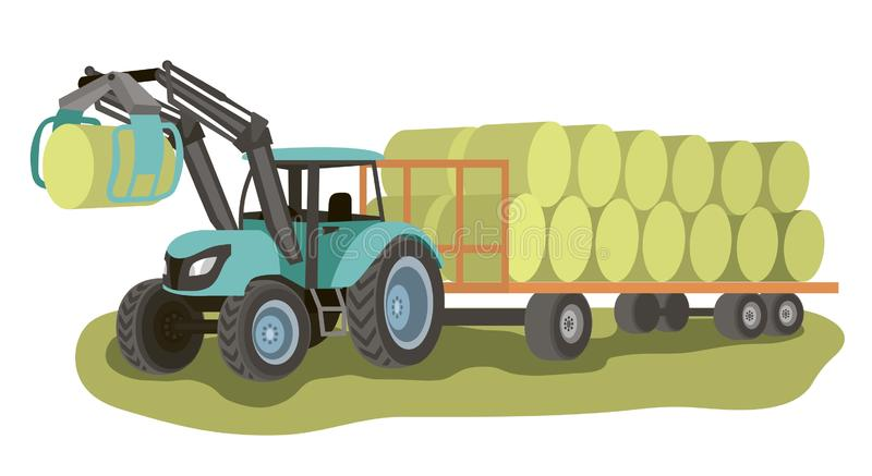 Tractor with loader and bales of hay on the cart stock illustration
