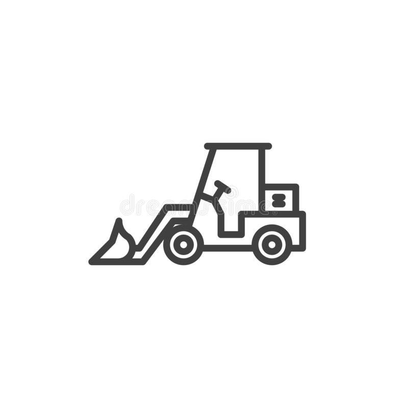 Tractor loader excavator line icon. Linear style sign for mobile concept and web design. Front loader outline vector icon. Construction machine symbol, logo vector illustration