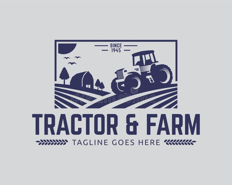 Tractor logo template, farm logo vector. Tractor logo or farm logo template, suitable for any business related to farm industries. Simple and retro look stock illustration
