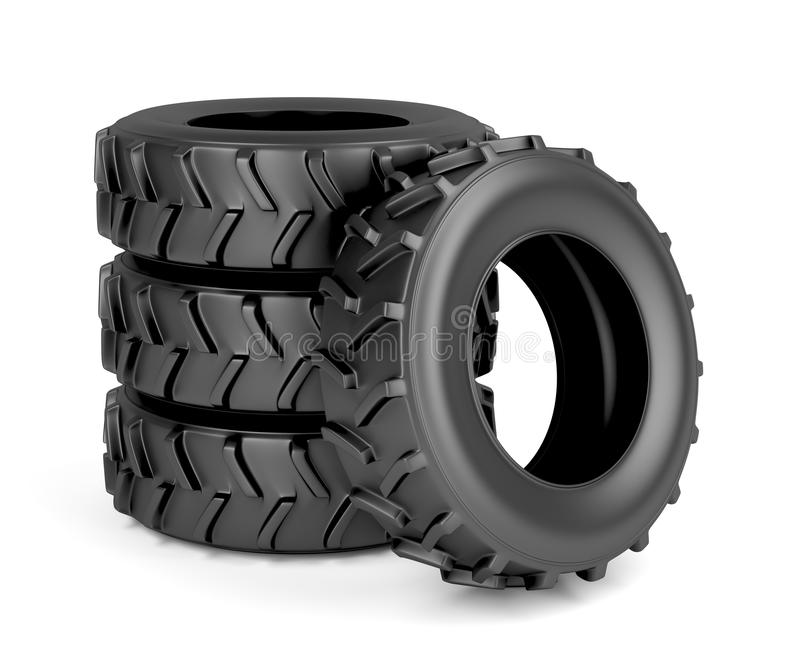 Tractor or machinery tires. Group of four tires for tractor or machinery on white background royalty free illustration