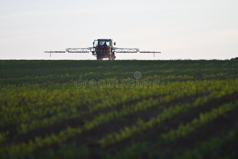 Tractor met pesticide op gebied royalty-vrije stock afbeelding