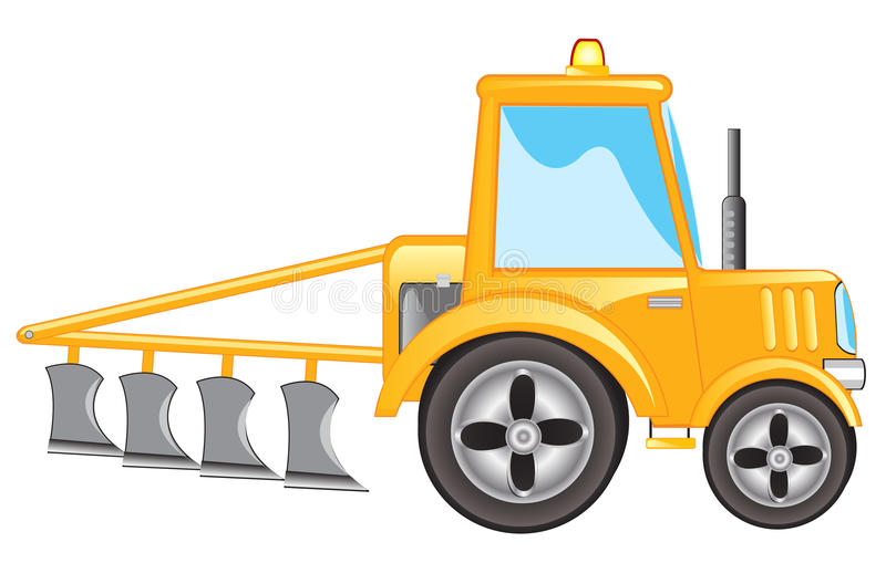 Tractor met ploeg stock illustratie