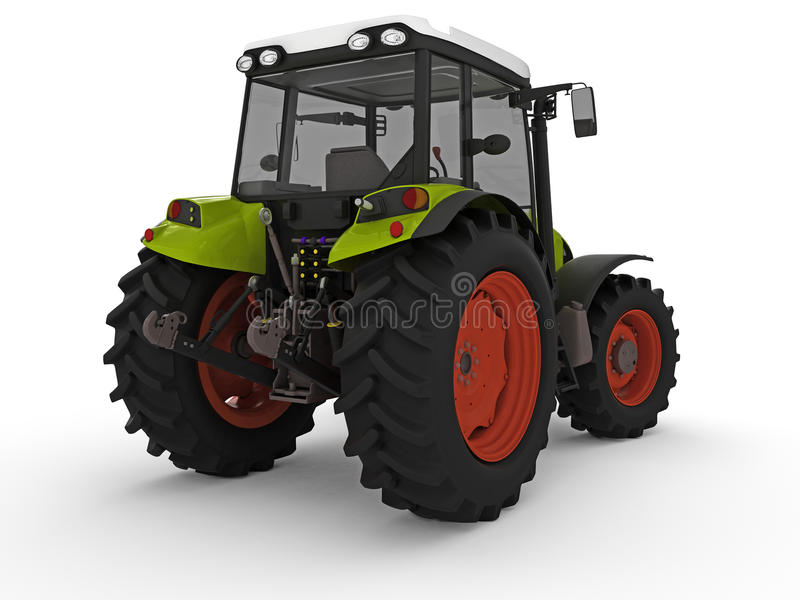 Tractor. Modern green tractor rendered on white background stock illustration