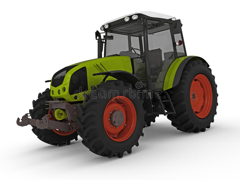 Tractor. Modern green tractor rendered on white background vector illustration