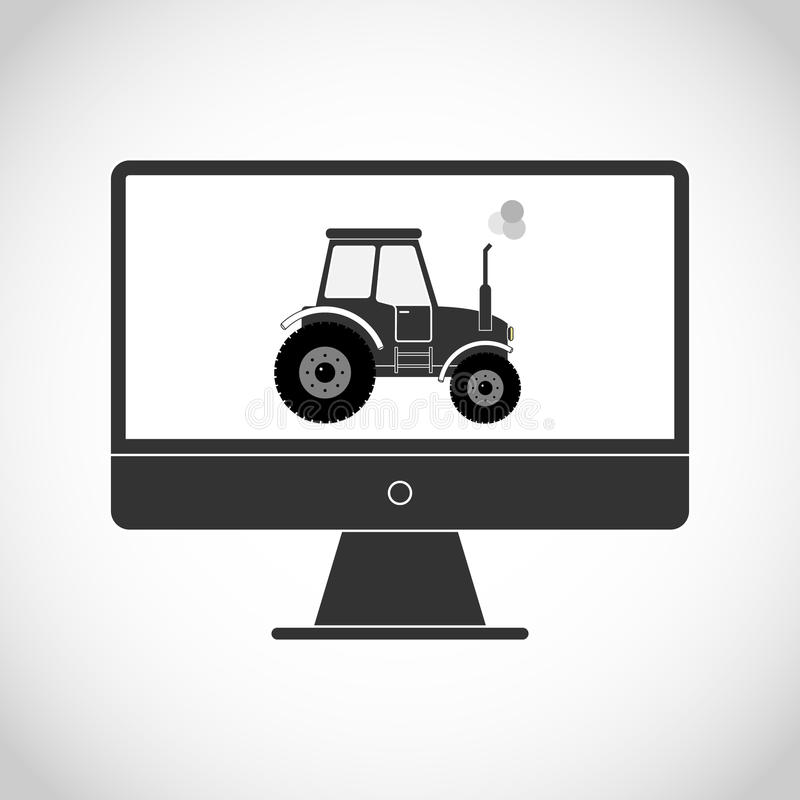 Tractor on the monitor. Flat design, vector illustration, vector stock illustration