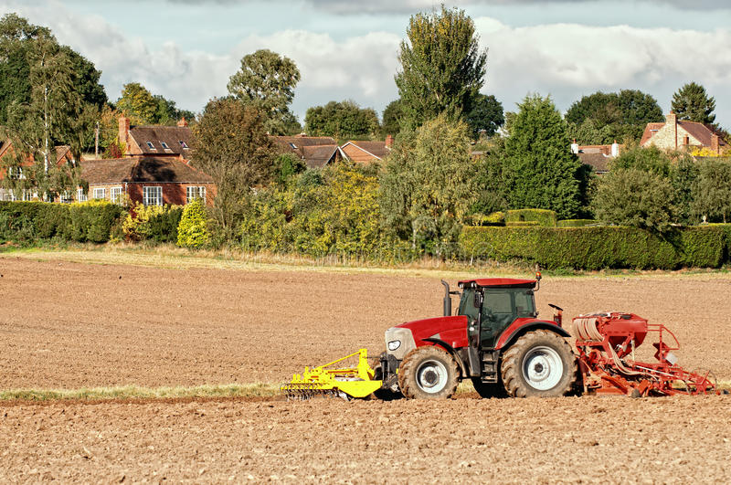 Tractor Planting Seeds Royalty Free Stock Image