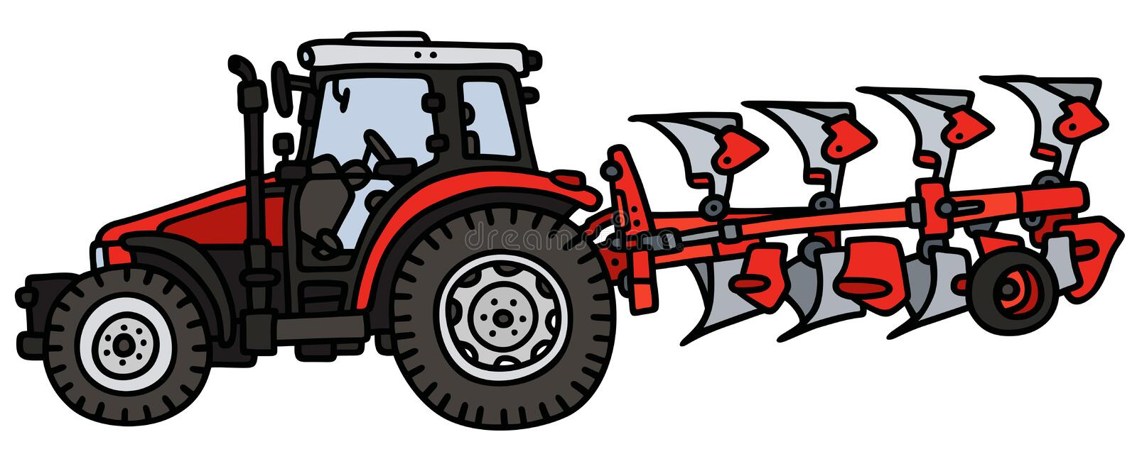 Tractor with a plow stock illustration