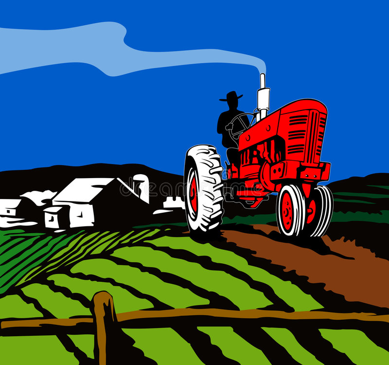 Tractor plowing the farm. Vector art of a Tractor plowing the farm royalty free illustration