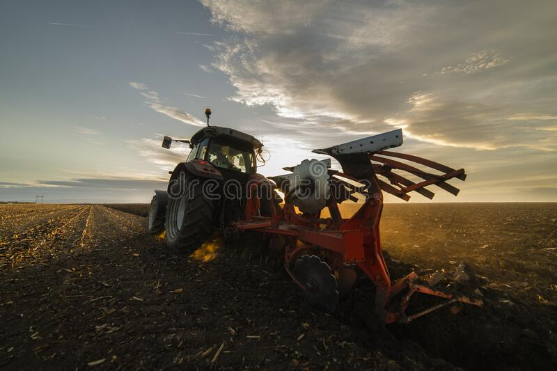 Tractor plowing fields in sunset royalty free stock image