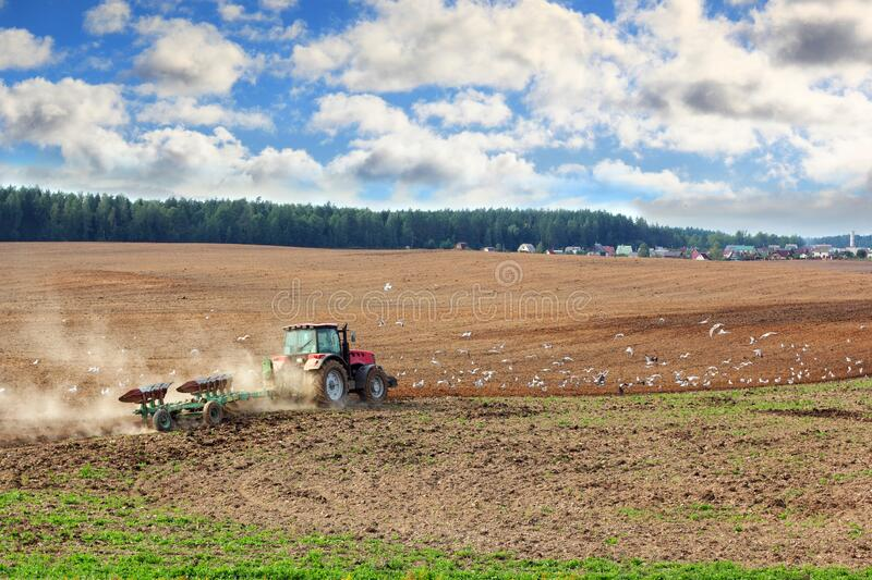 Tractor Plowing stock photography