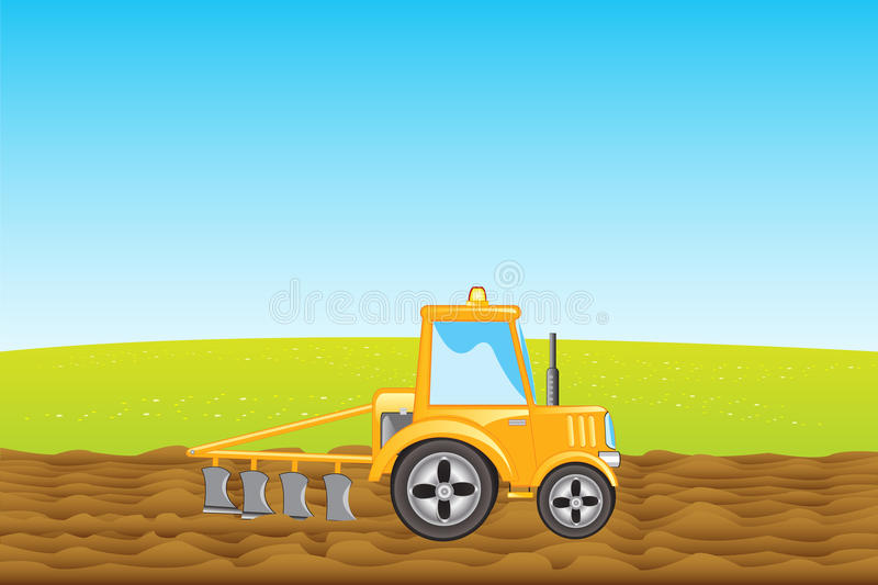 Tractor plows land in field. Yellow tractor with plow plows land in field stock illustration