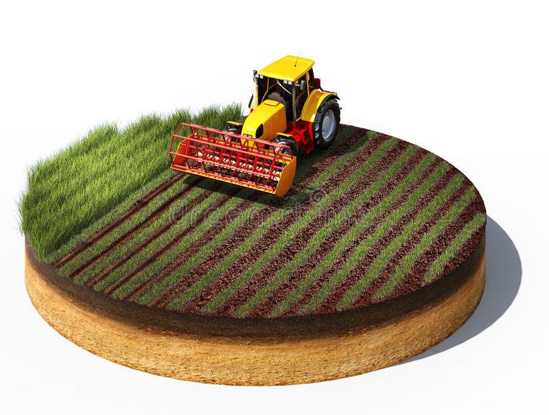Tractor preparing land for sowing. 3d illustration of tractor preparing land for sowing. Cross section of ground isolated on white background stock illustration