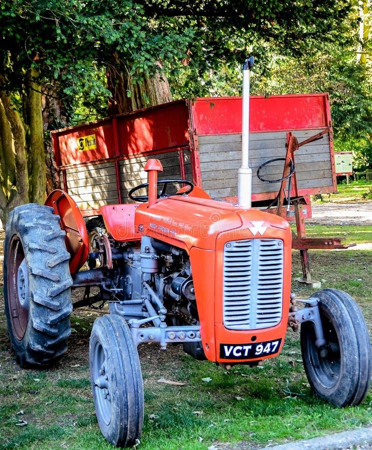 Tractor rojo viejo de Massey Ferguson con el remolque imágenes de archivo libres de regalías