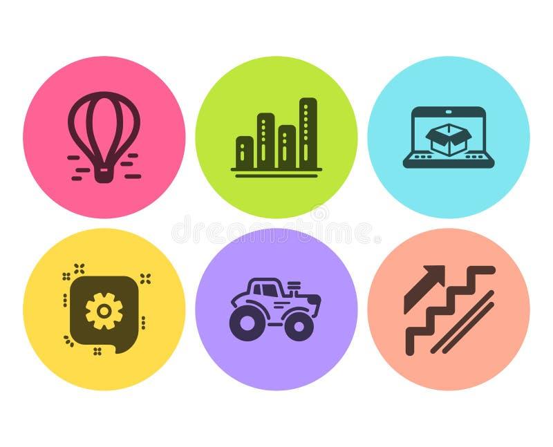 Tractor, rueda dentada y sistema en línea de los iconos de la entrega Carta del gráfico, balón de aire y muestras de las escalera ilustración del vector