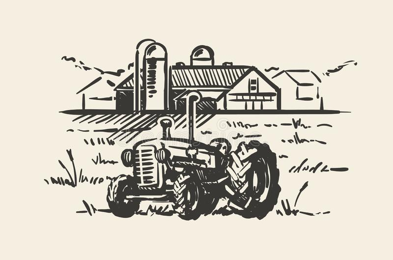 Tractor with a rural scene sketch vector illustration. Rustic farm landscape hand drawn stock illustration