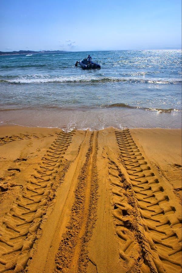 Tractor S Wheel Mark On Beach Stock Image