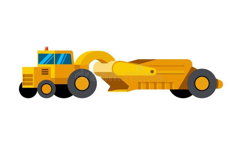 Tractor scraper minimalistic icon stock illustration