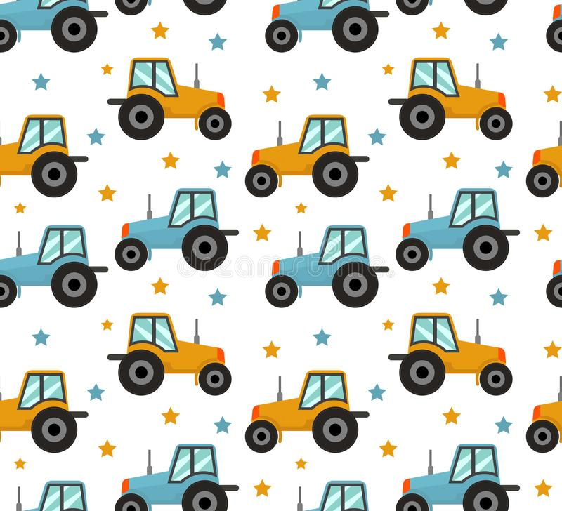 Tractor seamless pattern. Baby cars for boys repeating texture, endless background. Vector illustration.  stock illustration