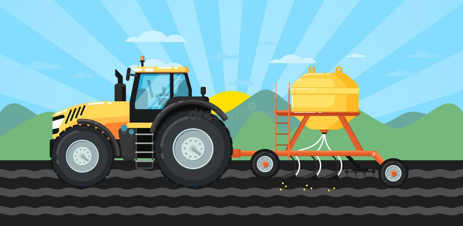 Tractor seeding crops at field in spring landscape vector illustration