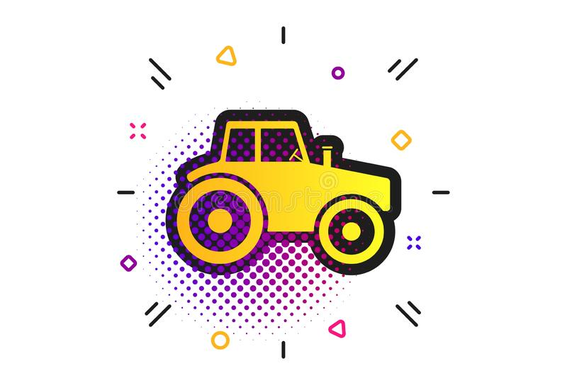 Tractor sign icon. Agricultural industry symbol. Vector. Tractor sign icon. Halftone dots pattern. Agricultural industry symbol. Classic flat tractor icon stock illustration