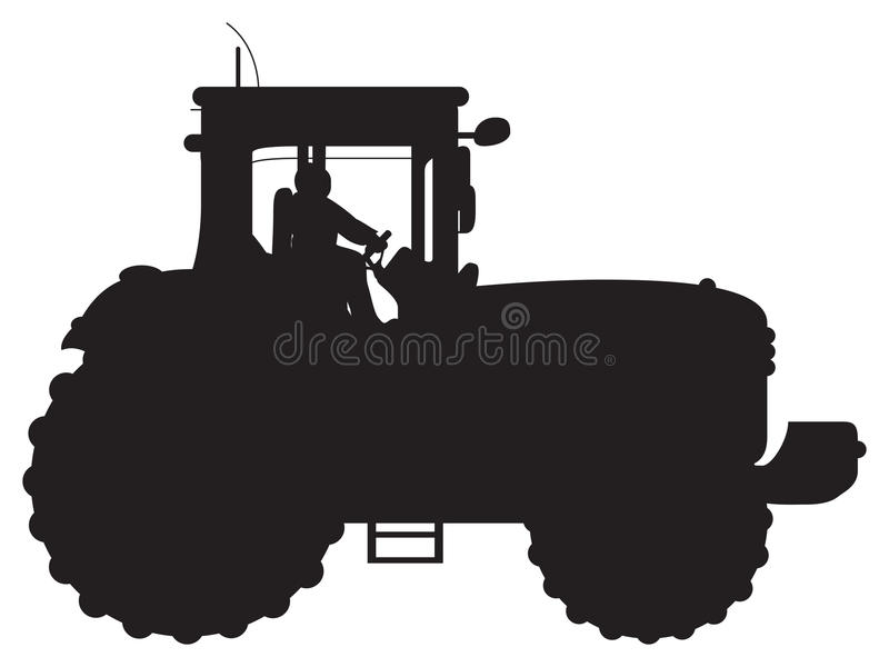 Tractor silhouette. A black tractor silhouette background vector illustration