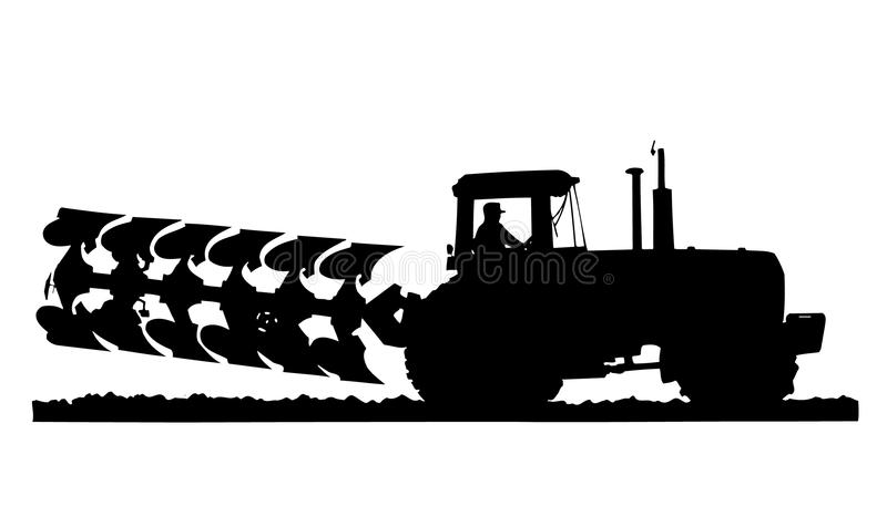 Tractor silhouette. Silhouette of Tractor Raking Soil stock illustration
