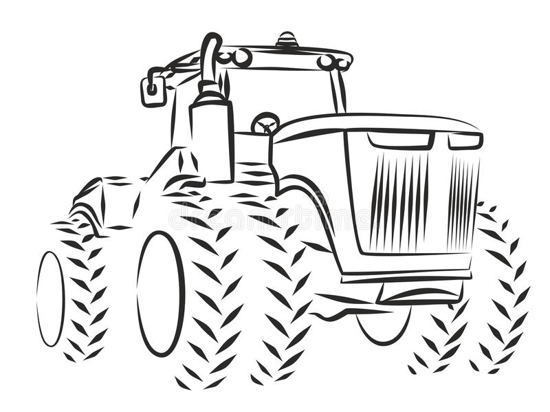 Tractor Sketch. royalty free illustration