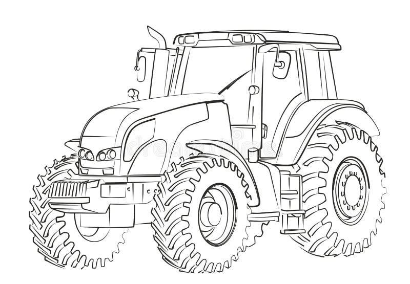 Tractor Sketch. The Sketch of a big heavy tractor vector illustration