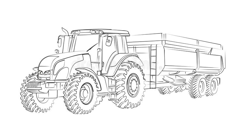 Tractor Sketch. The Sketch of a big heavy tractor vector illustration