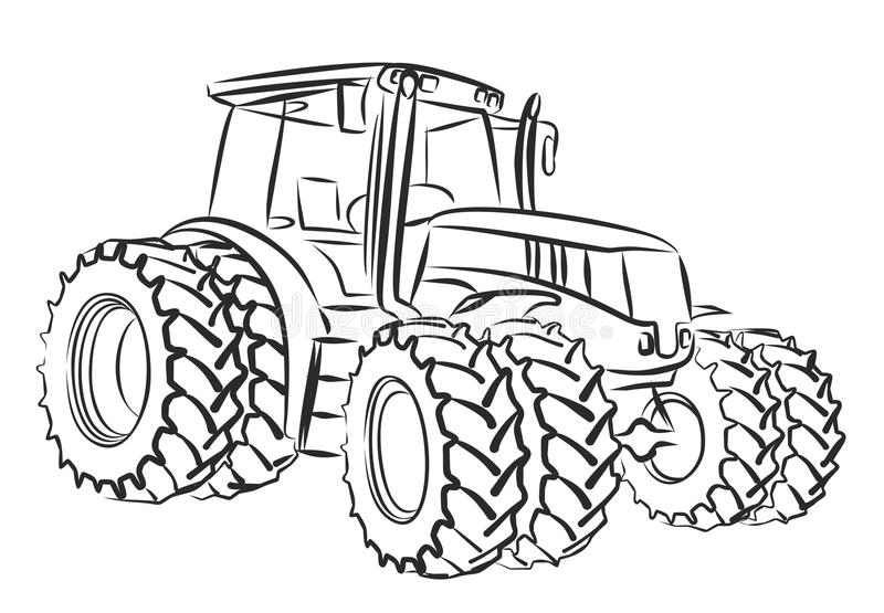 Tractor. Sketch of a heavy tractor stock illustration