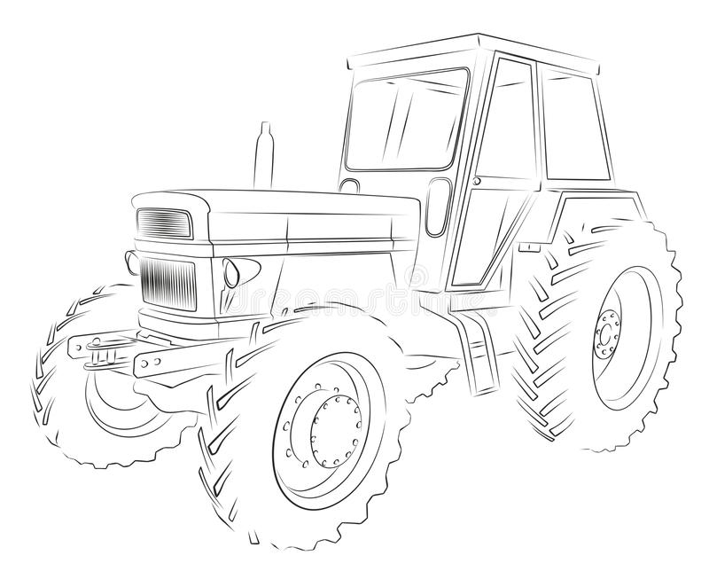 Tractor Sketch. The Sketch of a old big heavy tractor vector illustration