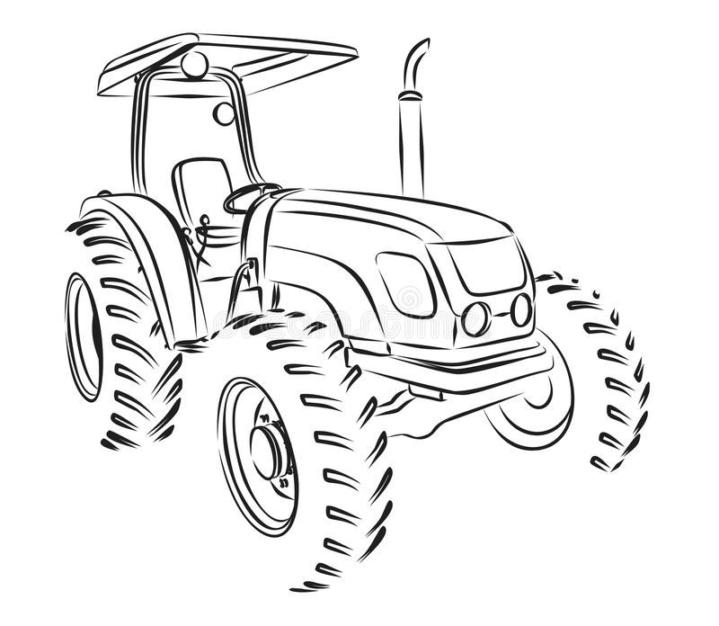 Tractor Sketch. stock illustration