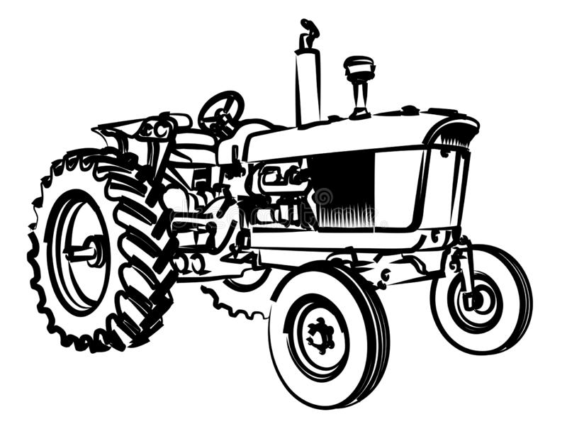 The Tractor Sketch. royalty free illustration