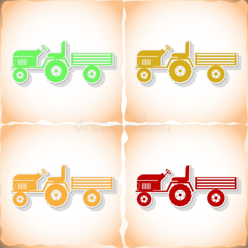 Tractor and small trailer. Flat sticker with shadow on old paper. Vector illustration royalty free illustration