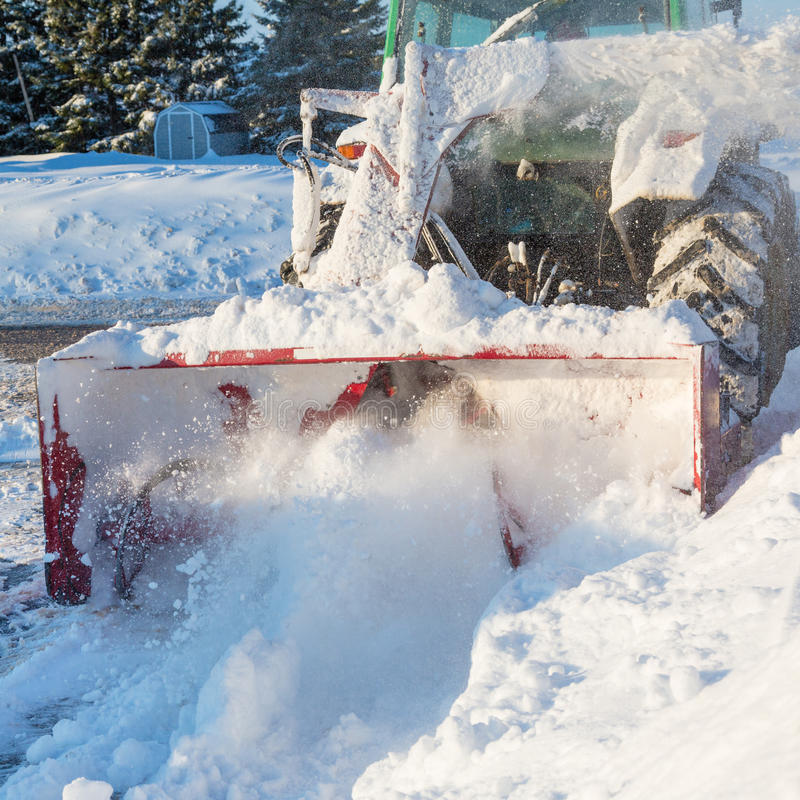 Tractor Snowblower royalty free stock photos