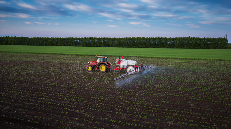 Tractor spraying field at spring stock photos