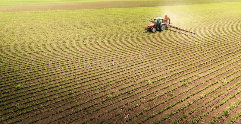 Tractor spraying soybean field royalty free stock photo