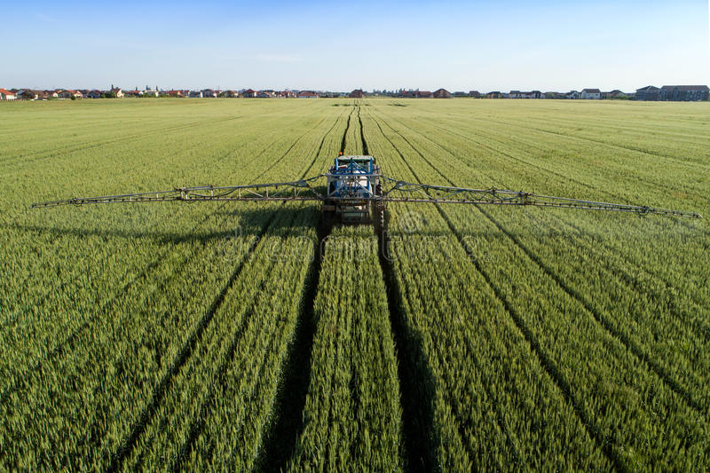 Tractor sprinkling pesticides. Against bugs on agricultural field - Aerial view taken by a drone royalty free stock photo