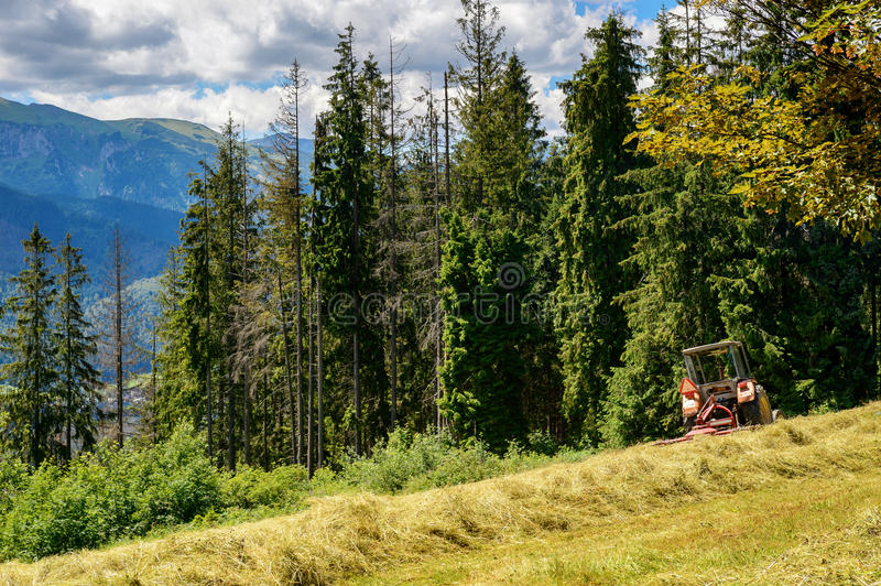 Tractor standing on the hill (Tatra mountains). Tractor standing on the hill (Tatra mountains royalty free stock photography