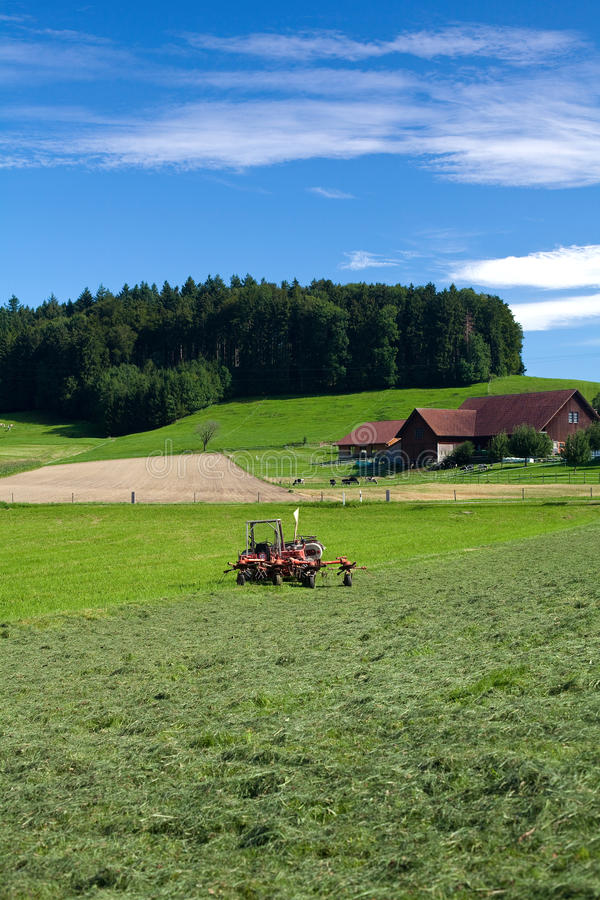 Download Tractor Standing Next To Mowed Grass Stock Image - Image: 15856303