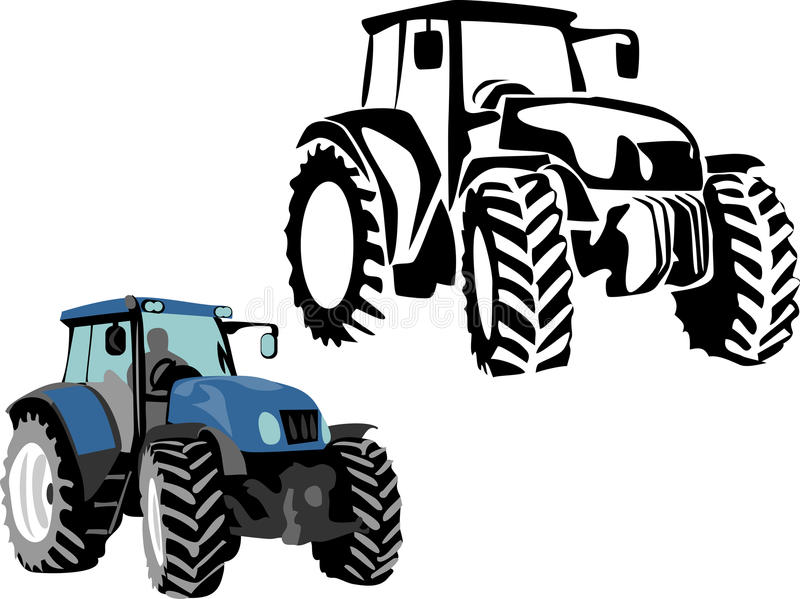Tractor. Stylized black and color illustrations stock illustration