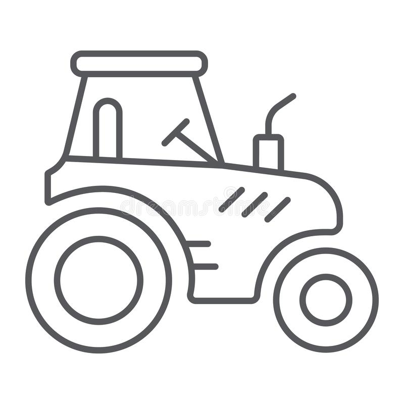 Tractor thin line icon, transportation and agriculture, harvest machine sign, vector graphics, a linear pattern on a. White background, eps 10 stock illustration