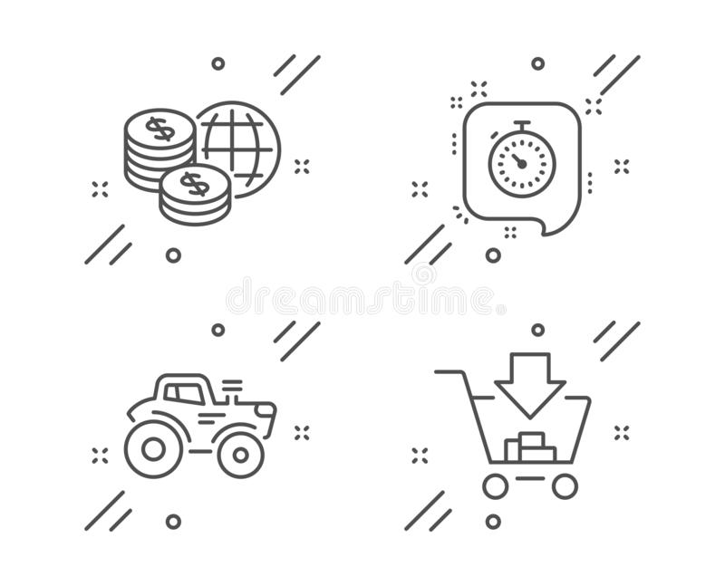 Tractor, Timer and World money icons set. Shopping sign. Farm transport, Time management, Global markets. Vector. Tractor, Timer and World money line icons set vector illustration