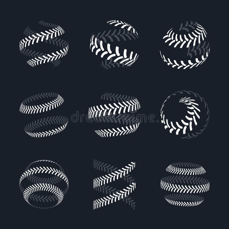Tractor tire print vector logo collection. Wheel traces icon set on dark background stock illustration