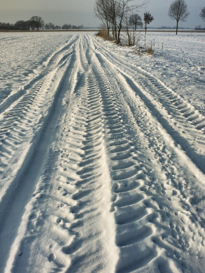 Tracks in the snow. Tractor track on a winterly field path in the Elbmarsch, near Barum, Niedersachsen, Germany royalty free stock images