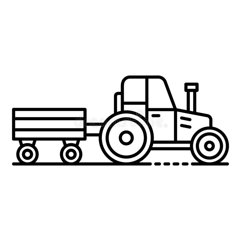 Tractor with trail icon, outline style stock illustration