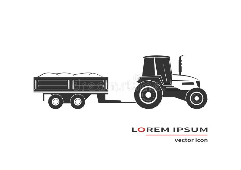 Tractor with trailer isolated on background. Vector illustration stock illustration