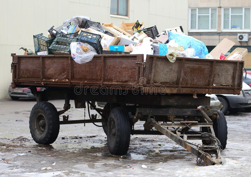 Tractor trailer loaded with household garbage royalty free stock image